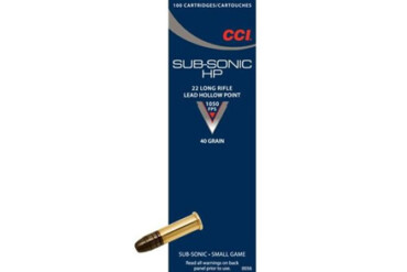 CCI Sub-Sonic / SubSonic .22LR 40gr HP Pack of 100 Rounds