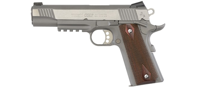 Colt 1911 .45ACP Government Model Stainless Rail Gun