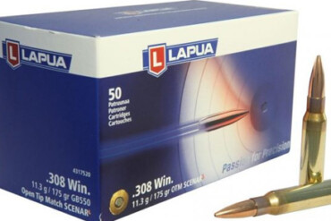 Lapua .308 WIN 175gr, Open Tip Match Scenar – Pack of 50 Rounds