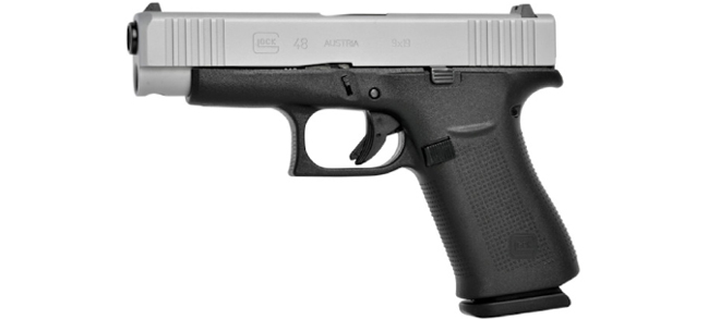 Glock 48 Pistol, 9x19mm, Silver Slide, Fixed Sights