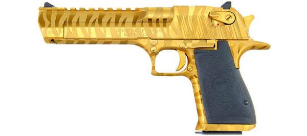 Magnum Research Desert Eagle, 50AE, Gold Tiger Stripe