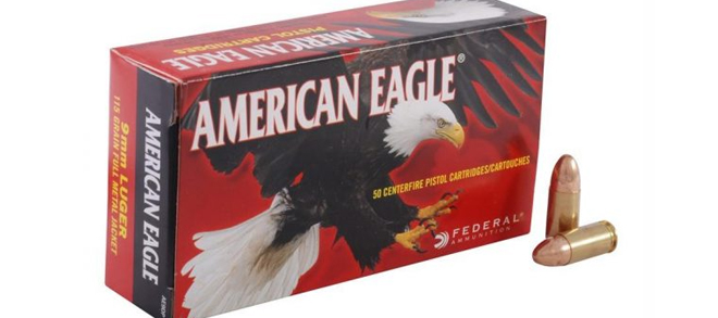 American Eagle 9mm Luger 124gr, FMJ, 1000rnd Case