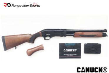 Canuck Regulator:Defender Pump Shotgun Combo, Walnut w:Bird Head Style Grip and Fixed Stock, 12GA, 14″ Barrel Rangeviewsports Canada