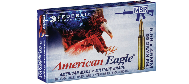 Federal American Eagle, 5.56x45, 55gr, FMJ, case of 500