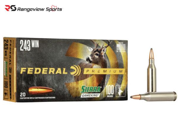 Federal Premium 243 Win Rifle Ammo, 100Gr Sierra GameKing SPBT 2960FPS – 20Rds rangeviewsports canada