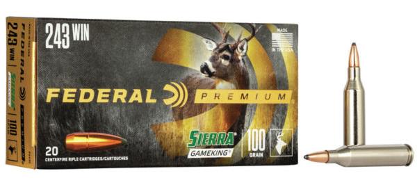 Federal Premium 243 Win Rifle Ammo, 100Gr Sierra GameKing SPBT 2960FPS – 20Rds