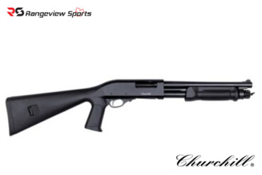 Churchill Pump 12ga 3″, 12.6″ Barrel, Synthetic Stock, Pistol Grip RangeviewSports Canada
