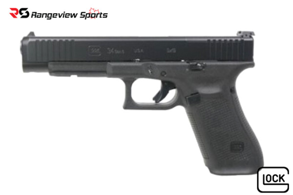 Glock G34 GEN5 9mm, 5.3″ Barrel, MOS, Fixed Sights – Black Rangeviewsports Canada