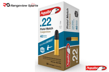Aguila Pistol Match Competition 22 LR Rimfire Ammo, 40Gr RN 925FPS – 50Rds rangeviewsports canada