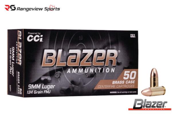 Blazer Brass 9mm Pistol Ammo, 124Gr FMJ 1090FPS – 50Rds Rangeviewsports Canada