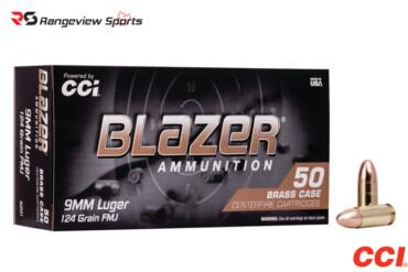CCI Blazer Brass 9mm Pistol Ammo, 124Gr FMJ – 1000Rds Rangeviewsports Canada