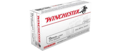 Winchester 9mm Pistol Ammo, 115Gr FMJ 1190FPS – 50Rds
