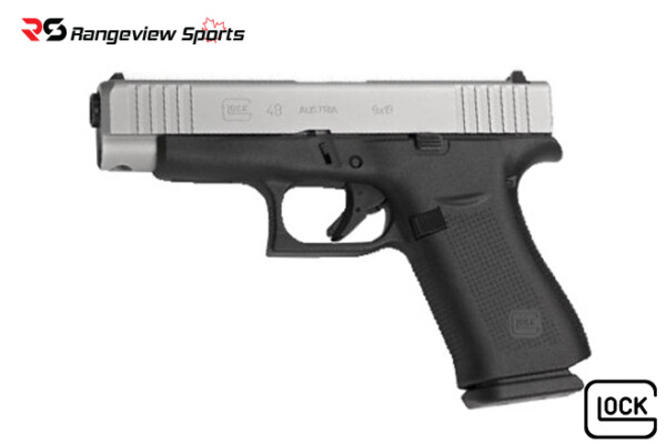 Glock 48 AUSTRIAN Pistol, 9x19mm, Silver Slide, AmeriGlo Bold Sights Rangeviewsports Canada