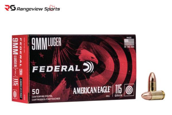 Federal American Eagle 9mm Luger, 124gr FMJ 50Rds rangeviewsports canada