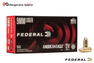 Federal American Eagle 9mm Pistol Ammo, 124Gr FMJ – 50Rds Rangeviewsports Canada