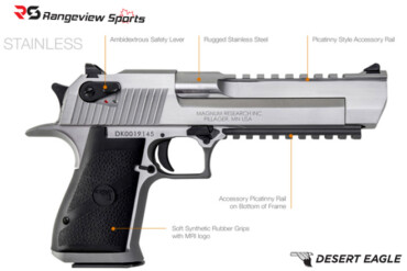Magnum Research Desert Eagle, 50AE Stainless-rangeviewsports-canada
