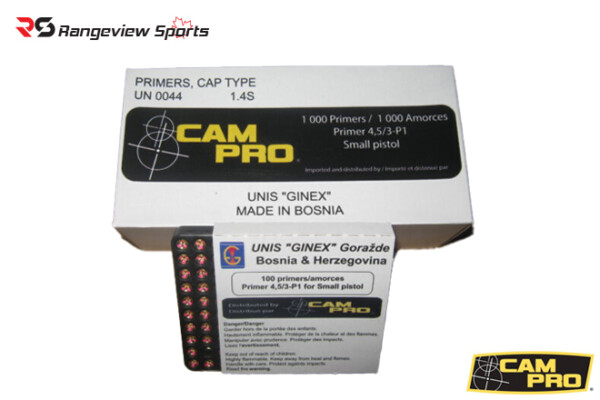 Campro Unis Ginex Small Pistol Primers - 1000ct Rangeviewsports Canada