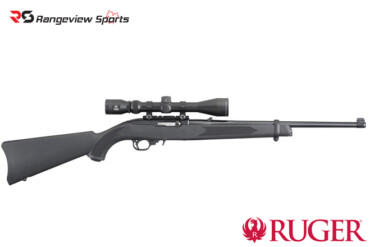 Ruger 10:22 Carbine w:Mounted Scope, Sythetic 22LR 18.5″ Barrel Rangeviewsports Canada