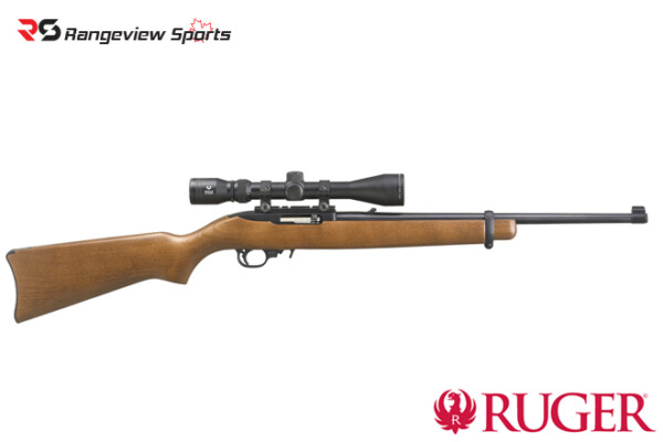 Ruger 10:22 Carbine w:Mounted Scope, Wood 22LR 18.5″ Barrel Rangeviewsports Canada3